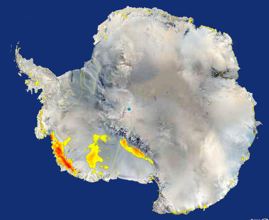 Topniejący śnieg na Antarktydzie