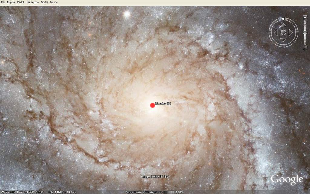 M101 w Google Earth Sky