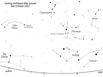 Pozycja komety  17P/Holmes