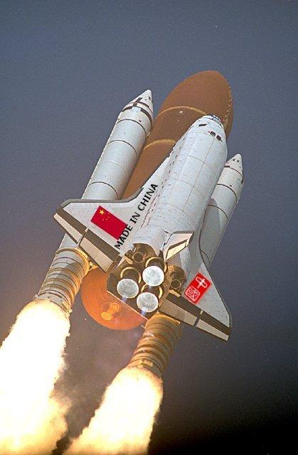 prom NASA z flagą Chin (fotomontaż)