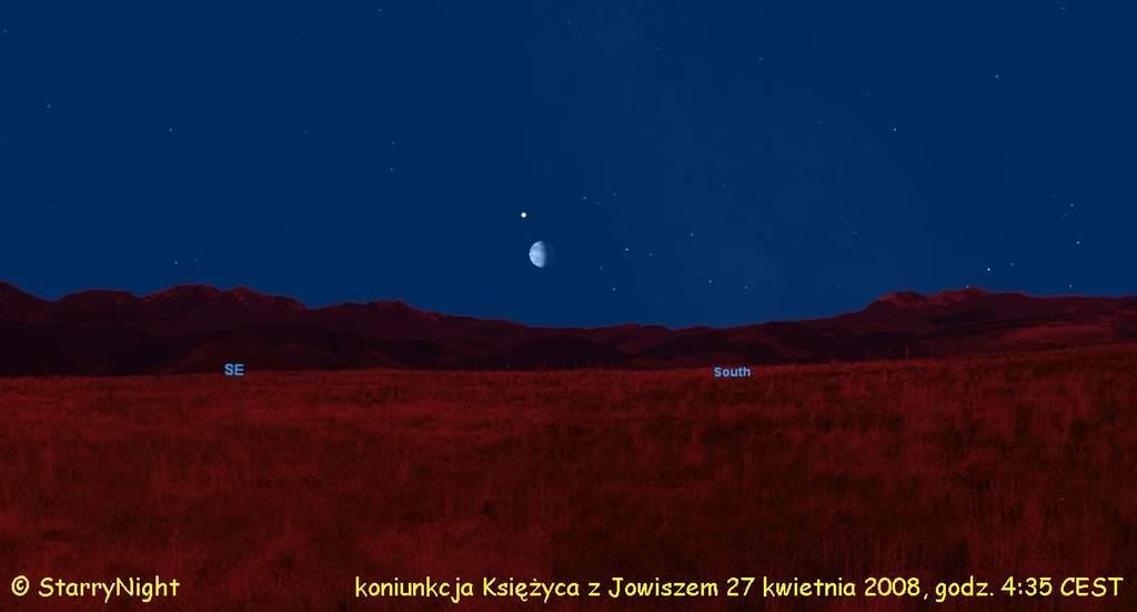 Koniunkcja Księżyca z Jowiszem 27.04.2008