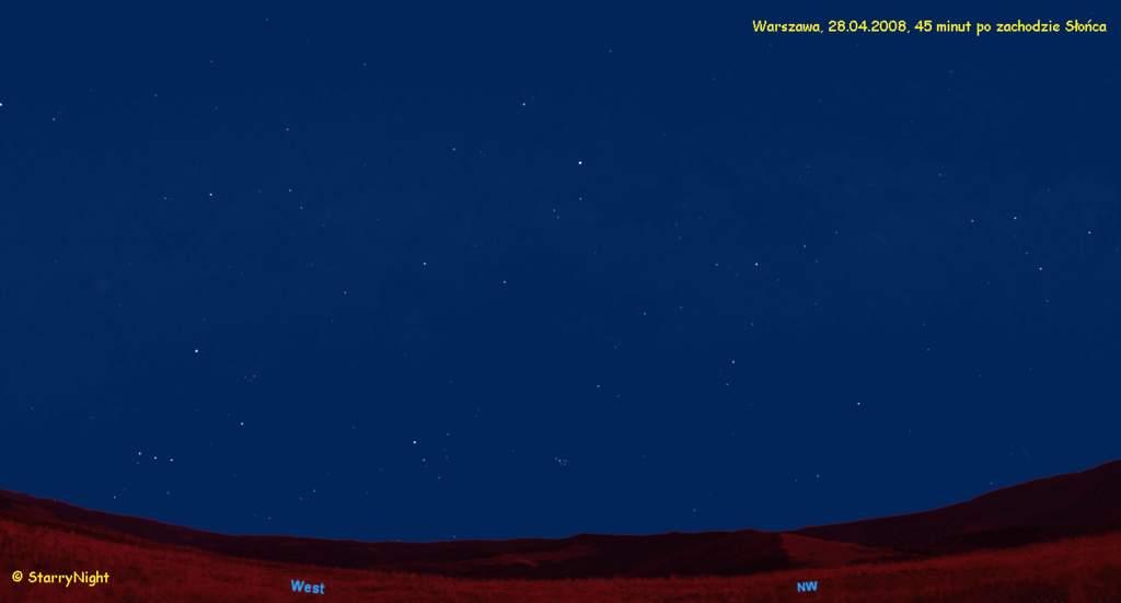 Animacja ruchu Merkurego nawieczornym niebie