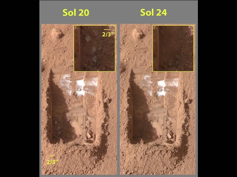Sublimujacy lód na Marsie