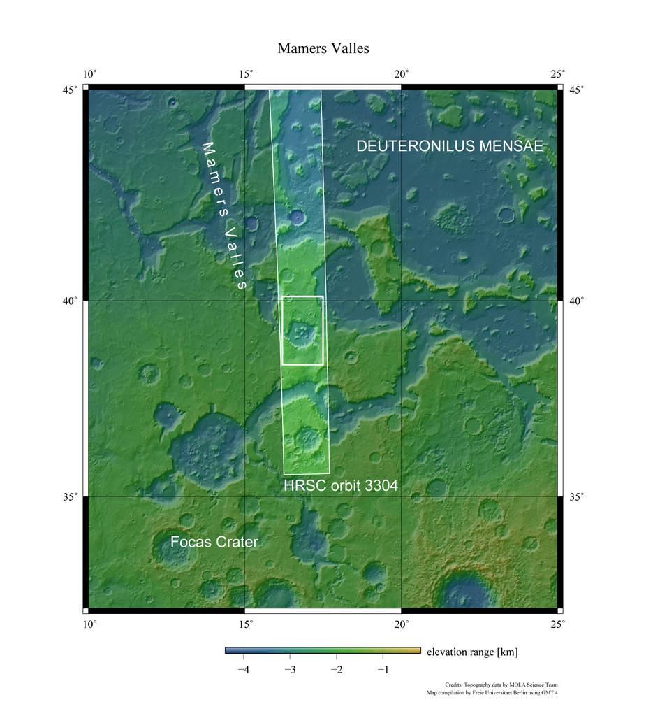 Mamers Valles - mapa wysokościowa