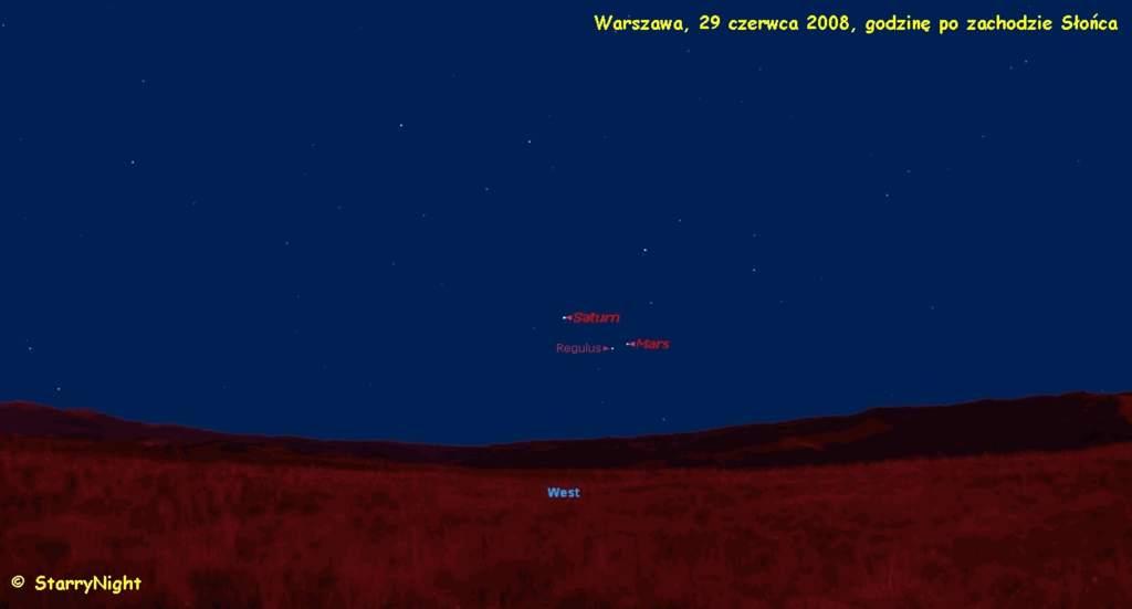 Mars blisko Regulusa iSaturna wlipcu 2008 roku