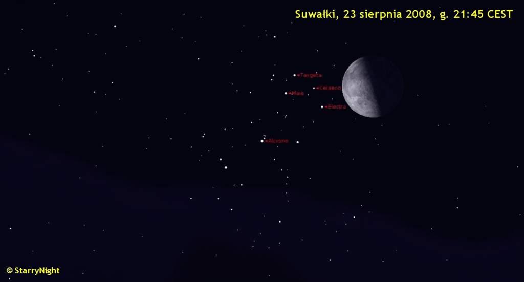 Animacja zakrycia Plejad przez Księżyc 23 sierpnia 2008 r.