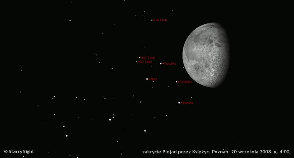 zakrycie Plejad przezKsiężyc 20 września 2008