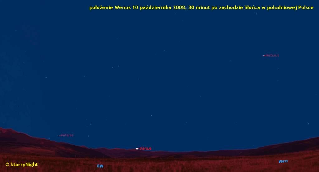 Wędrówka Wenus poniebie naprzełomie 2008 i2009 roku