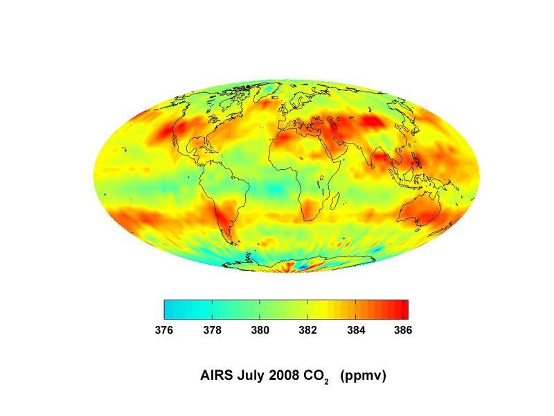 Rozmieszczenie dwutlenku węgla w troposferze