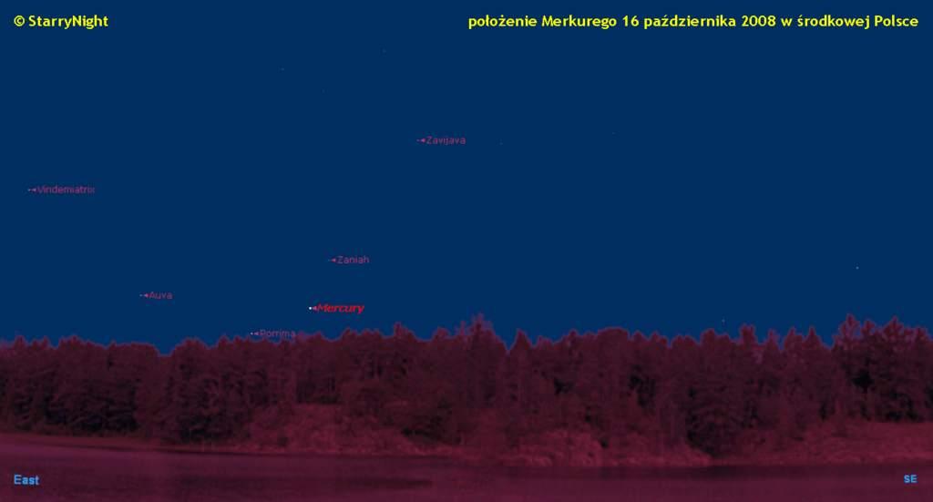 droga Merkurego wśród gwiazd w październiku 2008 roku
