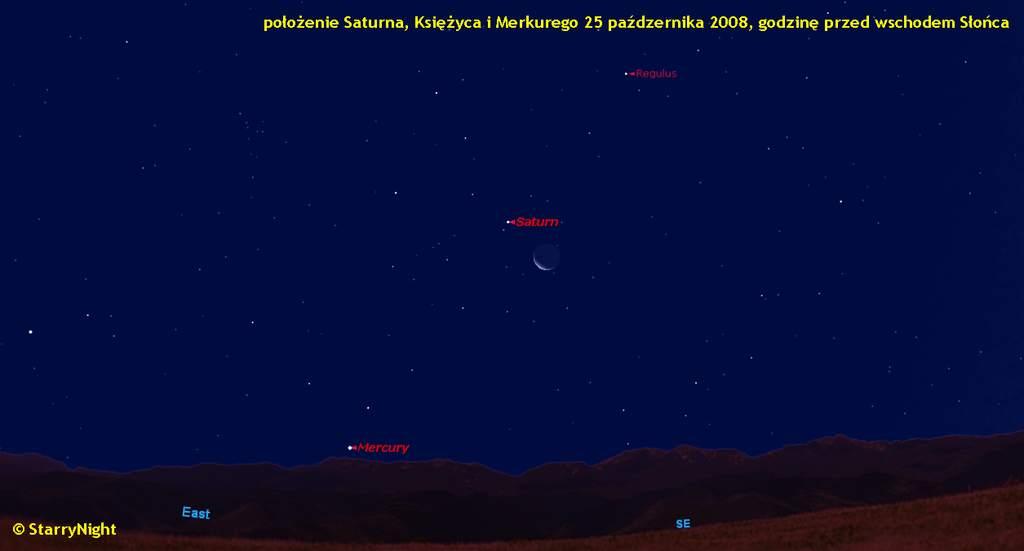 Koniunkcja Księżyca z Saturnem 25 października 2008