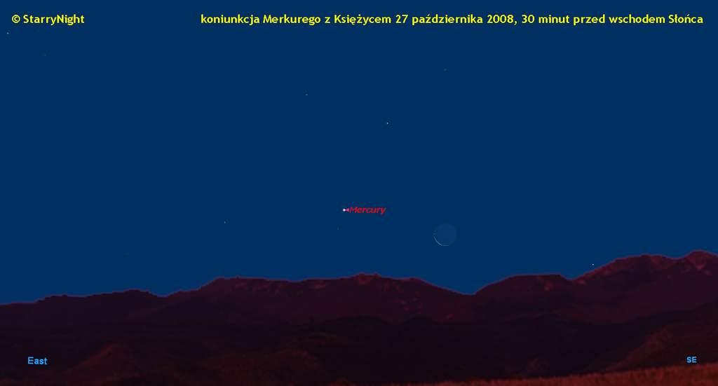 Koniunkcja Księżyca z Merkurym 27 października 2008