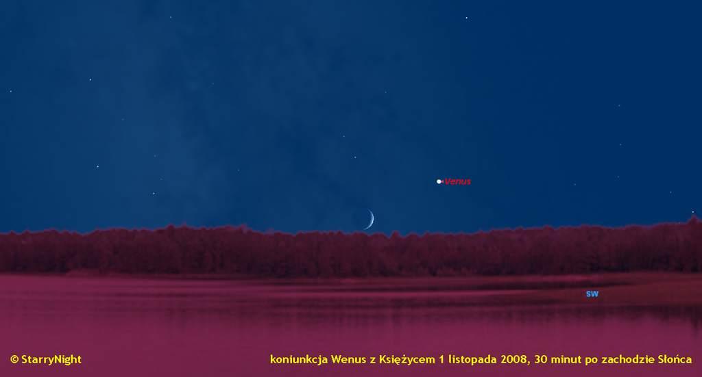 Koniunkcja Księżyca z Wenus 1 listopada 2008