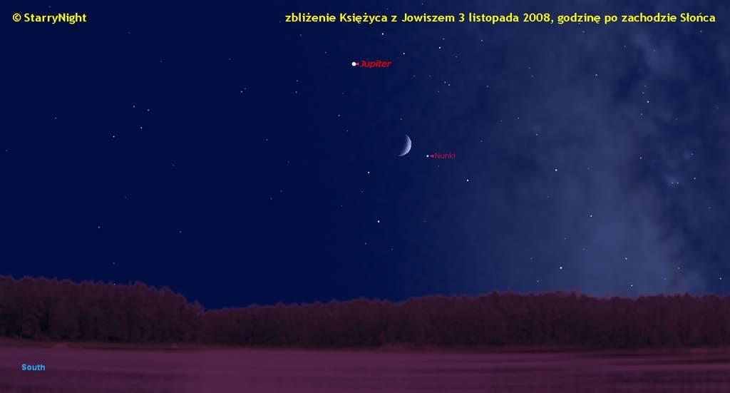 Koniunkcja Księżyca zJowiszem 3 listopada 2008