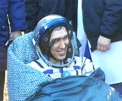 Siergiej Wołow po zakończeniu lotu