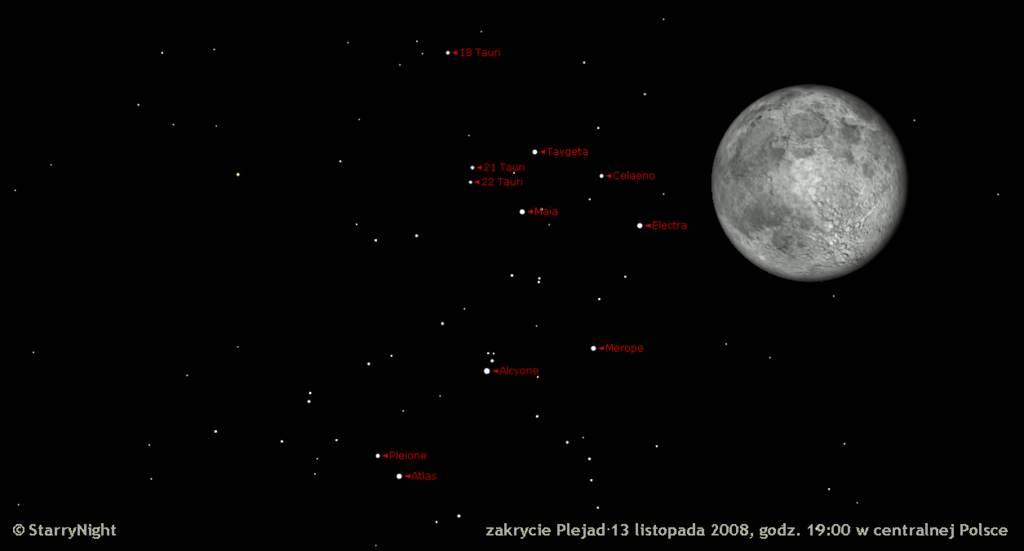 Zakrycie Plejad przezKsiężyc 12 listopada 2008