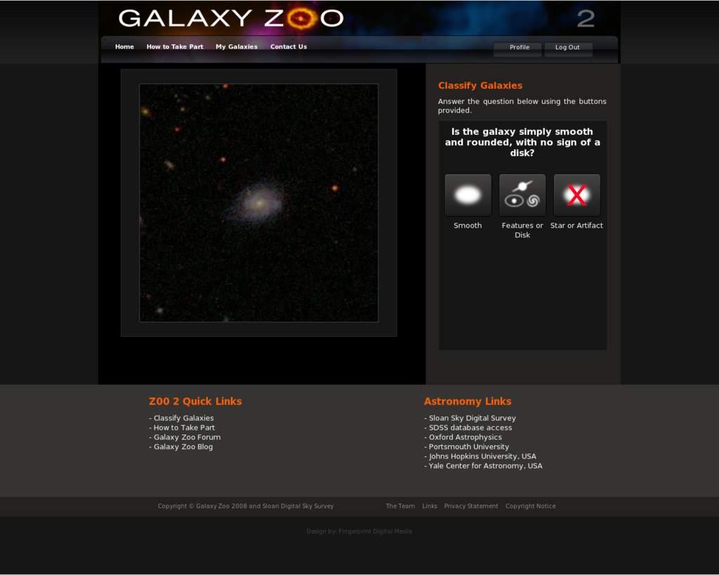 Wygląd witryny Galaxy Zoo II