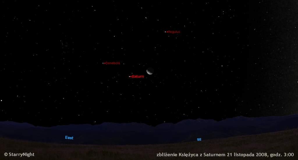 Zbliżenie Księżyca z Saturnem 21 listopada 2008