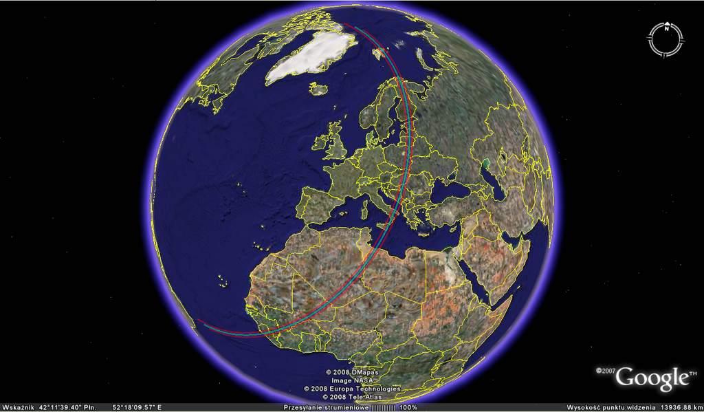 pas widoczności zakrycia gwiazdy HD 27505 przezplantoidę Liberę 21 listopada 2008