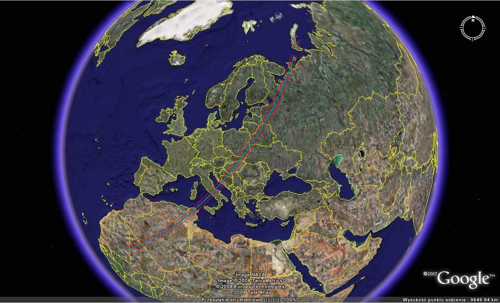 pas widoczności zakrycia gwiazdy HD 218358 przezplanetoidę Murray 22 listopada 2008