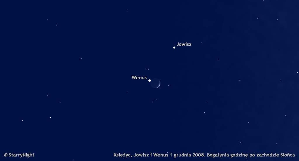 zbliżenie Księżyca, Wenus i Jowisza 1 grudnia 2008