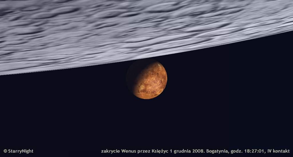 zakrycie Wenus przezKsiężyc 1 grudnia 2008, IV kontakt