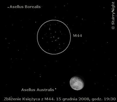 15 grudnia 2008 wieczorem Księżyc zbliży się natrochę ponad 2° doM44