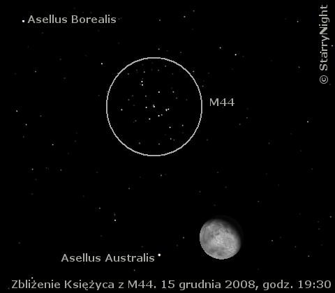 15 grudnia 2008 wieczorem Księżyc zbliży się na trochę ponad 2° do M44