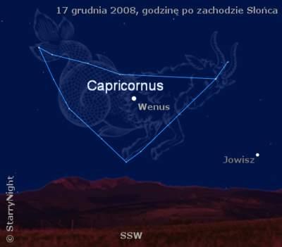 położenie Wenus iJowisza wdrugiej dekadzie grudnia 2008