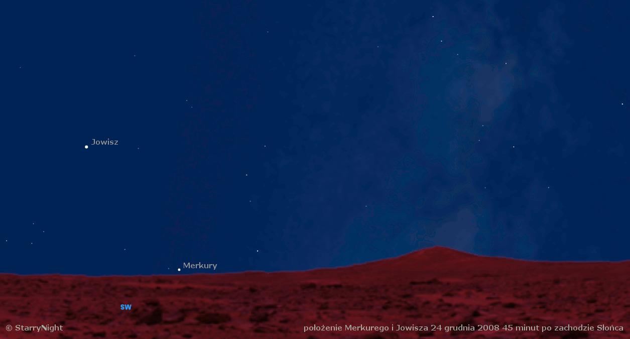animacja drogi Merkurego wśród gwiazd na przełomie 2008 i 2009 roku