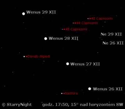 koniunkcja Wenus z Neptunem 27 grudnia 2008