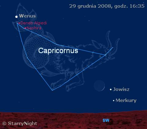 położenie trzech planet i Księżyca pod koniec grudnia 2008