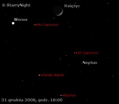 zbliżenie Księżyca zWenus iNeptunem 31 grudnia 2008
