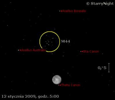 Przejście Księżyca niedaleko M44 12 stycznia 2009