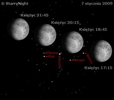 Zakrycie Plejad przezKsiężyc 7 stycznia 2009 roku