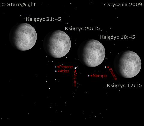 Zakrycie Plejad przez Księżyc 7 stycznia 2009 roku