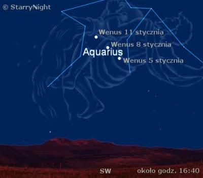 Droga Wenus natle konstelacji Wodnika wstyczniu 2009