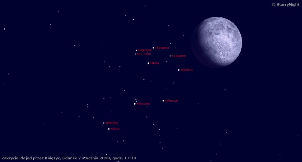 animacja zakrycia Plejad przezKsiężyc 7 stycznia 2009
