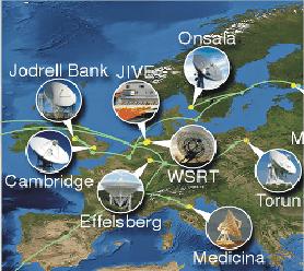 Schemat europejskiej części interferometru radiowego.