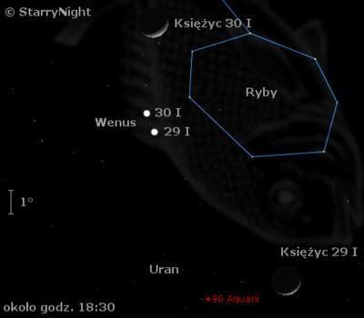 Położenie Wenus, Urana iKsiężyca 29 i30 stycznia 2009