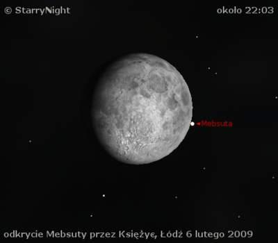 Odkrycie Mebsuty przez Księżyc 6 lutego 2009