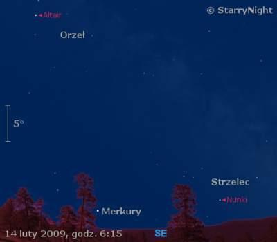 Położenie Merkurego 14 lutego 2009