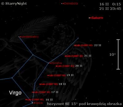 Położenie komety C/2007 N3 Lulin wtrzecim tygodniu lutego 2009