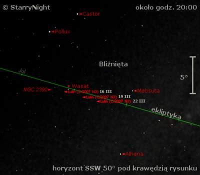 Położenie komety Lulin wtrzecim tygodniu marca 2009