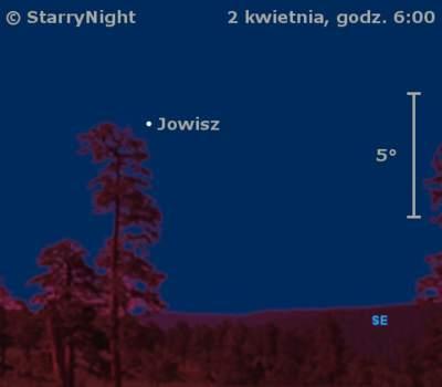 Położenie Jowisza naprzełomie marca ikwietnia 2009