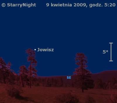 Położenie Jowisza wpierwszym tygodniu kwietnia 2009