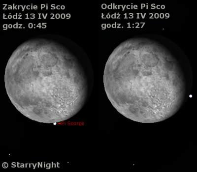 Zakrycie gwiazdy Π Sco wnocy z12 na13 kwietnia 2009