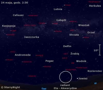 Położenie radiantu Eta - Aquarydów wtrzecim tygodniu maja 2009
