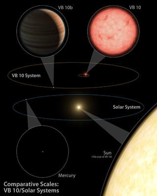 Porównanie rozmiarów Układu Słonecznego iukładu VB 10