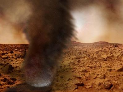 Burza pyłowa na Marsie - ilustracja